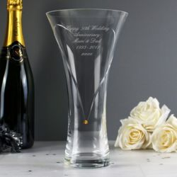 Large Hand Cut Gold Diamante Heart Vase with Swarovski Elements Thumbnail